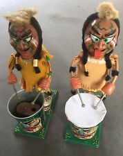 """Pair of Marx B/O """"Nutty Mad Indian� drummer tin litho 60's toys"""