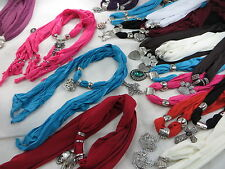 US SELLER-wholesale lot 12p jewelry scarf necklace pendant charm scarf