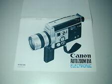 CANON  notice d'utilisation caméra auto zoom 814 cinéma super 8 en anglais