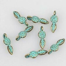 10pcs-patina green tone brass small flower leaf charm