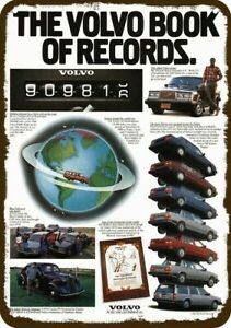 1986 THE VOLVO CAR BOOK OF RECORDS Vintage Look DECORATIVE METAL SIGN