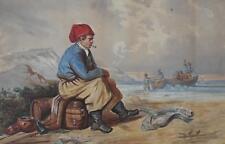Fisherfolk Tending Nets Watercolour c1890 Att David W Haddon (Act 1884-1911)