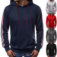 Mens Plain Hoodie Hoody Pullover Gym Sports Jacket Sweater Tops Sweatshirts Coat