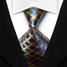 LK1075 Gold Blue Red Plaids Silk New Classic Jacquard Woven Men's Tie Necktie