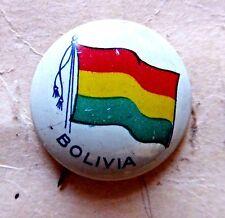 VINTAGE PINBACK BUTTON FLAG BOLIVIA 1930'S