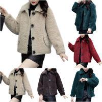 Ladies Teddy Bear Fluffy Coat Comfy Winter Warm Fleece Jacket Outwear Tops AU