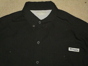 COLUMBIA PFG MEN'S L/S VENTED BUTTON FISHING SHIRT BLACK MEDIUM USED POLYESTER