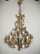 ~c 1930 French Tole Porcelain Flowers Winged Cherub Chandelier Vintage Original~