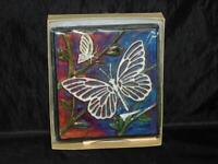 "Butterfly 5"" Wall Art Tile Raku Pottery by Jeremy Diller Butterflies Shimmer NEW"