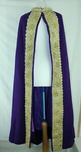 Royal Opera House Purple Full Length  Cape with Ornate Gold Embroidered Trim