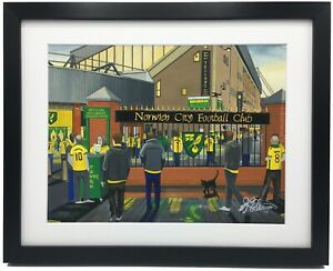Norwich City FC Carrow Road High Quality Framed Art Print. Approx A4