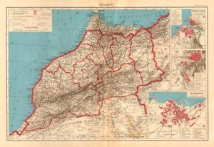 FRENCH MOROCCO. Maroc Protectorat français. Rabat Fez Casablanca plans 1938 map