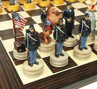 "US American CIVIL WAR Queens Chess set W/ 14"" Ebony Black & Maple Wood Board"