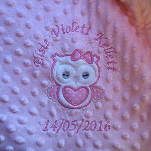 personalised dimple fleece baby blanket Cute Owl