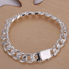 Men's Sliver Plated Chain Link Bracelet Wristband Bangle Jewelry Punk Fashion