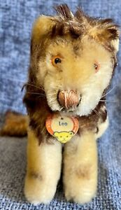 """Vintage 6"""" 50's Jointed Steiff Lion With Glass Eyes Mohair"""