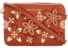 Michael Kors Flowers Pouches Medium Camera Bag Crossbody Orange Gold NWT $248