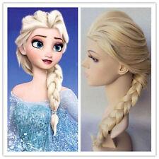 Frozen Prinzessin Elsa Gold Lang Haar Zopf Cosplay Kostüm Perücken Neu ES
