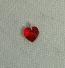 Crystal Heart Charm -Sterling Silver Jumpring & Made with SWAROVSKI- Lt Siam Red