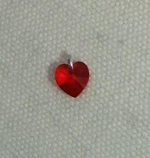 Corazón De Cristal Charm-Plata Esterlina jumpring & Hecho Con Swarovski-LT Siam Rojo