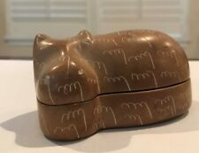 Vintage Hippo Hand Carved Trinket Box Figurine Handmade Kenya Hippopotamus