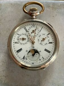 Très belle montre gousset à quantième,phase de lune en argent.