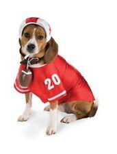 Red Football Player Dog Costume Size Medium Helmet, Ball, & Jersey Halloween