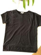 Madewell Women Black Crew Neck Short Sleeve Med. Weight Cotton  Size MED