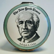 Halcyon Days Enamels New York Times Adolph S. Ochs Trinket Box with Original Box