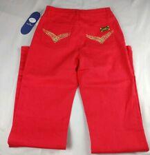 DG2 Diane Gilman Womens 4T (26x34 Actual Sz) Red Ramie-Cotton Jeans 050140 $45