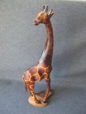 Vintage folk art carved & painted wooden giraffe figure 12 inches