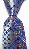 New Classic Dot Blue Pink Orange JACQUARD WOVEN 100% Silk Men's Tie Necktie
