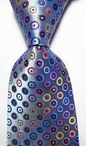New Classic Dot Blue Pink Orange JACQUARD WOVEN 100% Silk Men's Tie Necktie