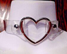 CLEAR VINYL HEART RING COLLAR silver rivet choker punk necklace cyber raver 6C