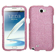 Samsung Galaxy Note II 2 Crystal Diamond BLING Hard Case Snap Phone Cover Pink