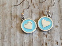 Teal Heart Imitation Rhodium Plated Enameled Earrings