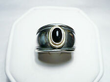 Retired James Avery Christina Sterling and 18K Black Onyx Ring Size 5