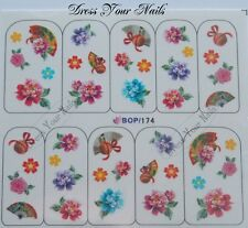 Water Decals Flowers Hand Fans Nail Art Stickers Floral Heads 3d Bling  DIY -UK