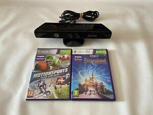 Official Microsoft Xbox 360 Black Kinect Motion Sensor Camera Bar & 2 Games