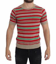 NEW DOLCE & GABBANA T-Shirt Red Beige Striped Cotton Crew-neck IT44 / XS