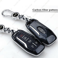 Black Carbon Fiber Pattern Key Cover Fobs Shell w/ Keychain Fit Ford Lincoln
