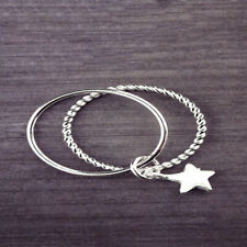 925 Silver Stars Pendant Ring Double layer Ring Adjustable Charm Women Jewelry