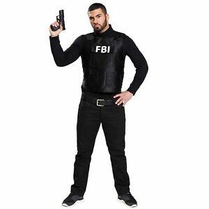 FBI Weste schwarz Erwachsene Kostüm Herren Damen Fasching Karneval NEU