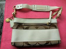 Coach Signature Stripe Brown & Ivory Patent Leather Slim Baguette 10120 (VGUC)