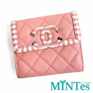 Auth Chanel CC Filigree Small Flat Wallet Tri-Fold Wallet A81940 White Pink Bord