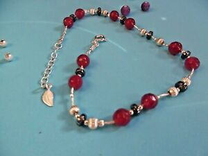 AN04 925 Sterling Silver chain Anklet Handmade Unique singular ladies Gems Gift