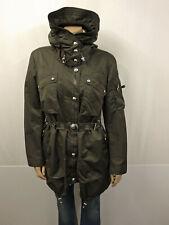990€ HIGH TECH Designer Parka Gr.42 I48 Kurzmantel Kapuze Gürtel Jacket Khaki