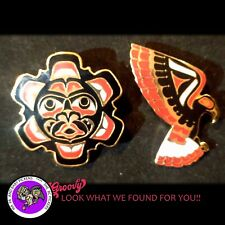 """First Nation Haida """"Sun and Eagle Pin"""" Cloisonne red black"""