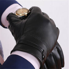 Men's Autum Winter Classic Genuine Leather Gloves Lambskin Mittens Driving  AY