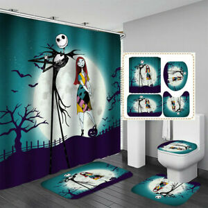 4Pcs The Nightmare Before Christmas Bathroom Rugs Shower Curtain Mat Lid Cover